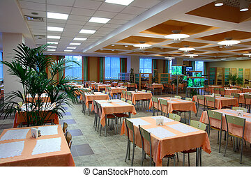 restaurant dinning hall - interior of empty restaurant...