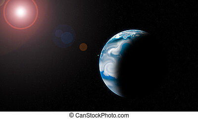 planet with Rising Sun - Blue planet with Rising Sun in...