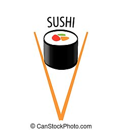 vector logo Japanese sushi and chopsticks