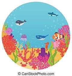 Underwater world of fish cartoon