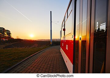 Tram at the sunset - Tram station at the sunset, Prague,...
