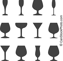 Icons wineglasses, vector