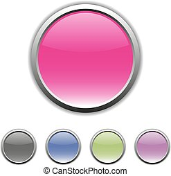 Set of multicolored buttons, vector