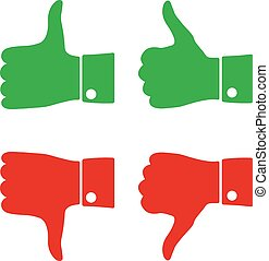 Icons thumbs  up and down, vector