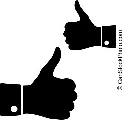 Icons thumbs up, vector - Black icons thumbs up on a white...