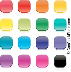 Set of multicolored square buttons