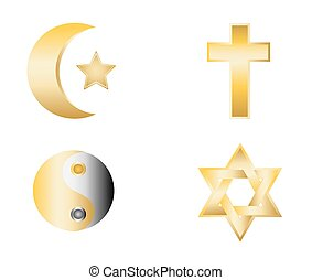 glossy religion icons vector illust