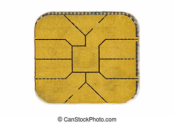 Credit card chip - Macro of a credit card chip isolated on...