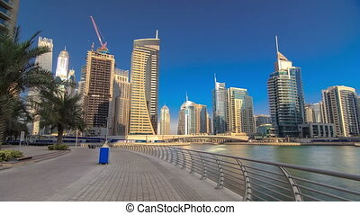 UAE Modern buildings in Dubai Marina. In the city of...