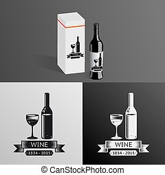 Wine Alcohol Drink Logo Symbol Bottle Glass ribbons Icon Box...