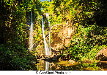 Mok fah waterfall in chiangmai thailand