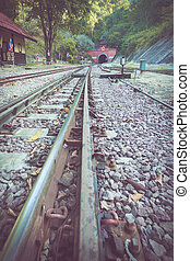 Railway in train station