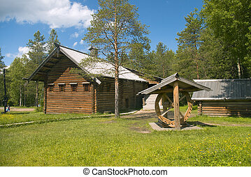 Old-time peasant homestead to north russia , museum...