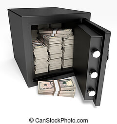 Opened safe with bank notes. Five dollars. - Opened safe...