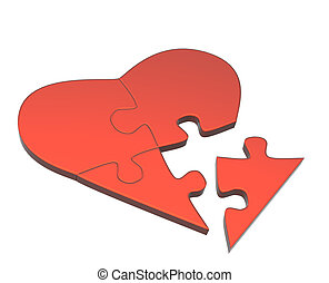 Heart from parts of a puzzle