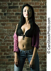 fashion oriental girl - pretty and sexy asian girl with long...
