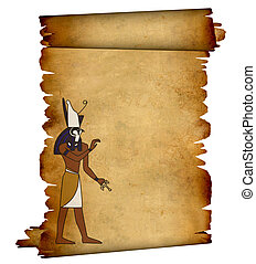 Horus - Scroll with Egyptian god Horus image. Object over...