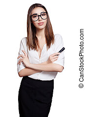 business woman in glasses with black marker isolated on white background