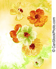 flower watercolour painting - red ,orange and green flowers...