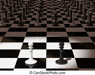 Pawn chess - 3d rendering of pawn chess