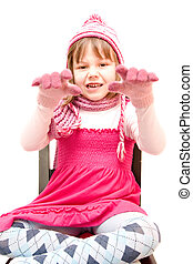 little girl wearing cap and gloves isolated on white