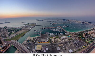 Dubai Marina Panorama Day to Night transition timelapse fisheye