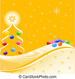 vector illustration of Christmas Tree with decorations,...