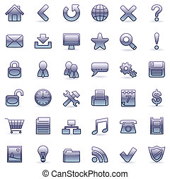 Web icons. - Set of 36 violet icons for Web.