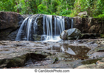 Tropical waterfall in rain forest ,Nature
