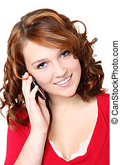 Beautiful Fourteen Teen Girl with Cellphone