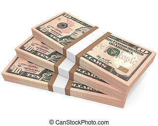 Stacks of money. Ten dollars. 3D illustration.
