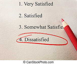 red circle dissatisfied - Dissatisfied survey with red...