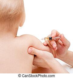 poco, bebé, conseguir, inyección