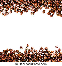 Roasted Coffee Bean background isolated on white background...