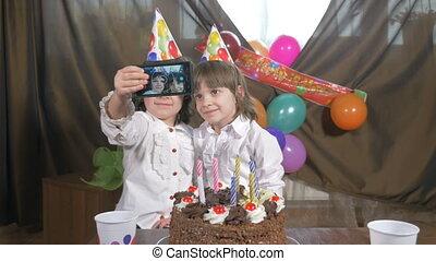 Beautiful twins taking a selfie - 4k - Young beautiful twin...