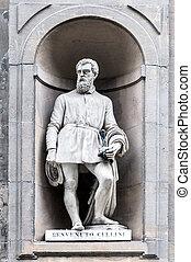 Statue of Benvenuto Cellini in Uffizi Alley in Florence,...