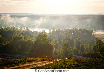 sunrise over the river - The morning landscape sunrise over...