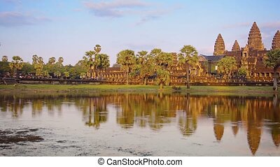 Afternoon view of Angkor Wat from across the moat -...