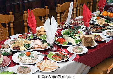 Russian feast - Festively covered Russian table with various...