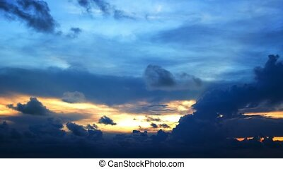 Sky with clouds at sunset in time-lapse - Video 1080p -...