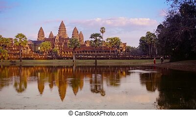 Angkor Wat Temple in Cambodia from across the moat - Video...