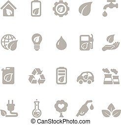 Set of eco energy icons with nuclear  and solar power  electric car  recycling  eco light bulb  maize  biofuel  rechargeable battery, a green house