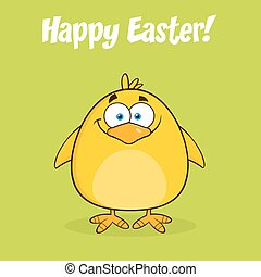 Happy Easter With Yellow Chick