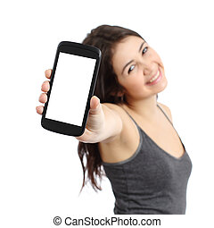 Happy promoter girl showing a blank smart phone screen...