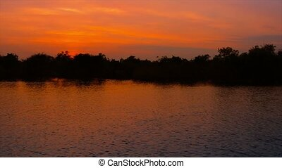 Cambodian River and Mangrove Forest at Sunset