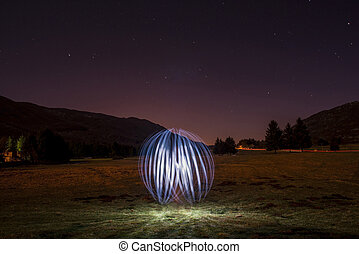 Light Effect - Sphere realized with artificial light through...