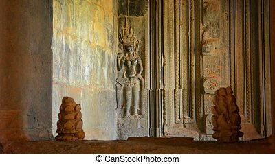 Bas Relief on the Wall of Angkor Wat - Intricate bas relief...
