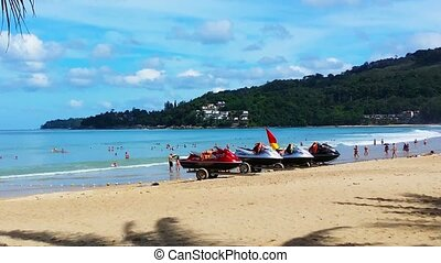 At the beach in Phuket, Thailand, November 2014 - Tourists...