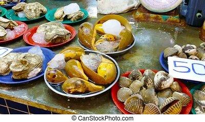 Fresh Shellfish at Banzaan Seafood Market, Patong, Phuket,...