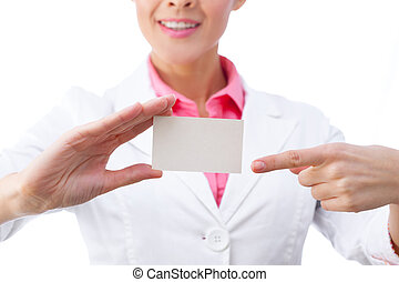 Business card - businesswoman holding blank sign. All isolated on white background.